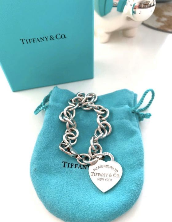 Tiffany and Co silver heart bracelet size 7.8inch or 20cm