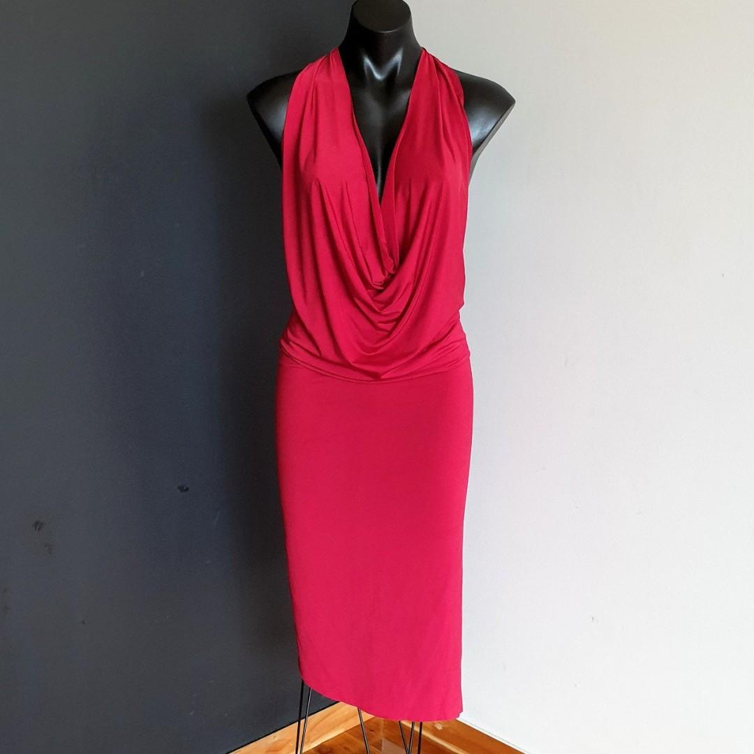 Women's size M 'FORCAST' Stunning scarlet red bodycon midi cowlneck dress - AS NEW