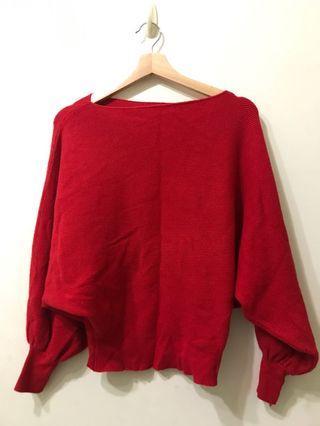 大紅 可露肩 材質超好摸 飛鼠袖 上衣