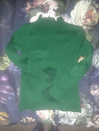 Green mock neck long sleeve knit stretchy sweater top with lace trim cuffs