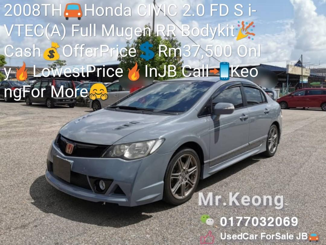 2008TH🚘Honda CIVIC 2.0 FD S i-VTEC(A) Full Mugen RR Bodykit🎉Cash💰OfferPrice💲Rm37,500 Only🔥LowestPrice🔥InJB Call📲KeongFor More🤗