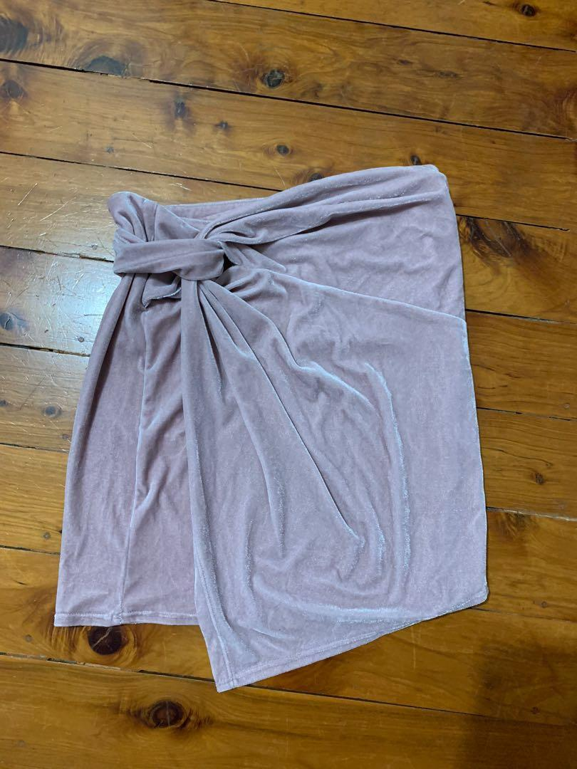 Alice In The Eve Size M / 10 Pink Velour Mini Skirt