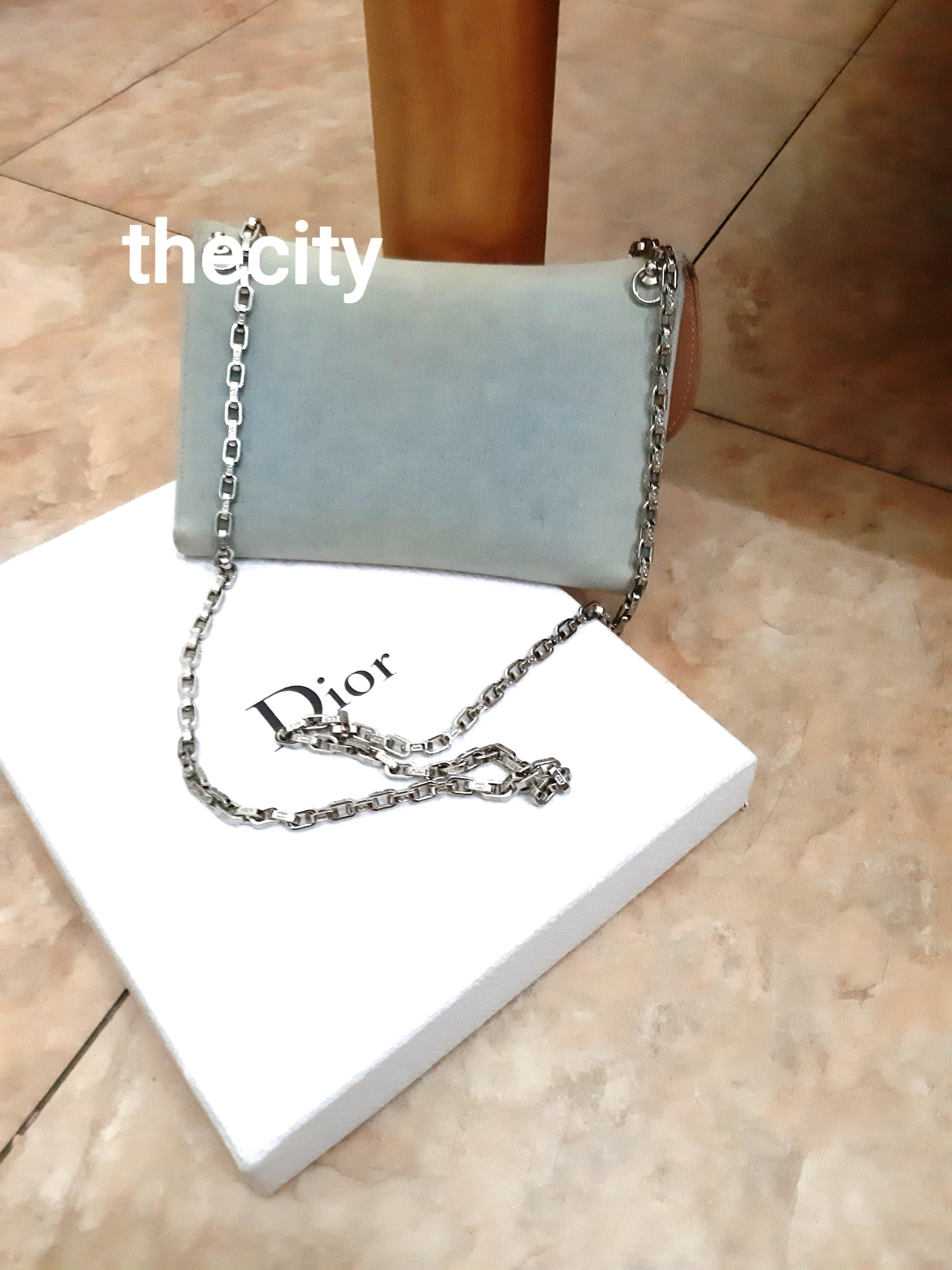 AUTHENTIC DIOR SADDLE LARGE ORGANIZER POUCH / WALLET - BLUE DENIM - WITH EXTRA ADD HOOKS AND DIOR CHAIN STRAP FOR CROSSBODY SLING