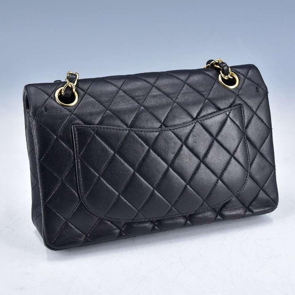 Authentic Pre-loved Chanel Medium Black Lambskin Double Flap Gold Hardware