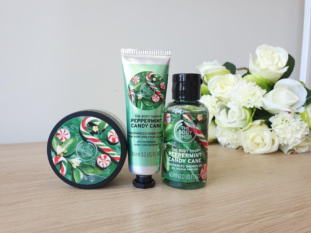 (BRAND NEW) Body Shop Peppermint Hand Cream, Shower Gel and Scrub!