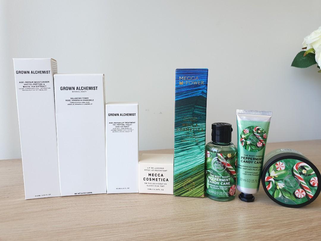 BRAND NEW CLEARANCE - Grown Alchemist + Body Shop + MECCA Skincare body wash hand cream Lip balm