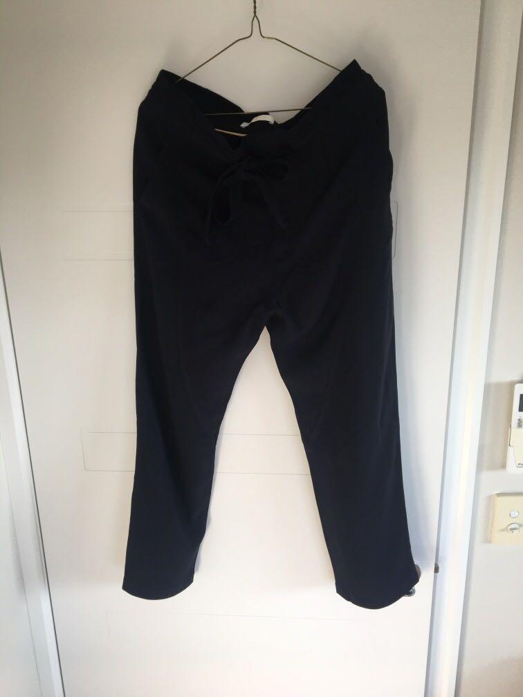 Chloe Bow Waist Tie Drop Crotch Crop Navy Trousers
