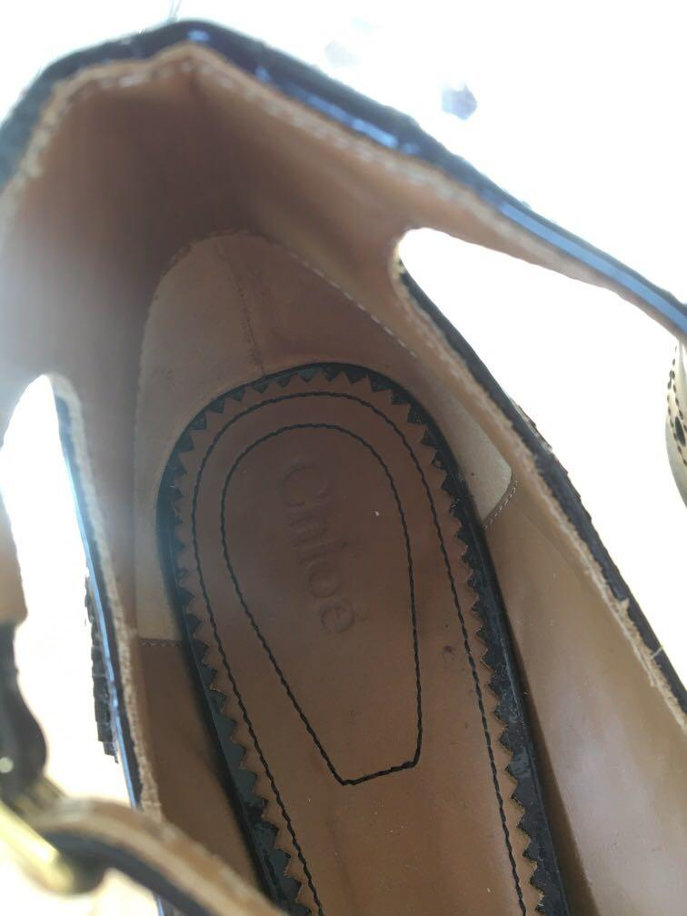 Chloe Patent Leather T-Bar Mary Janes with Brogue Detailing
