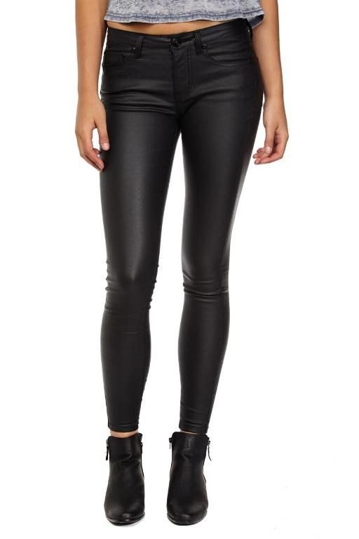 Cotton On Mid Rise Skinny Coated Black Jeans - Size 12