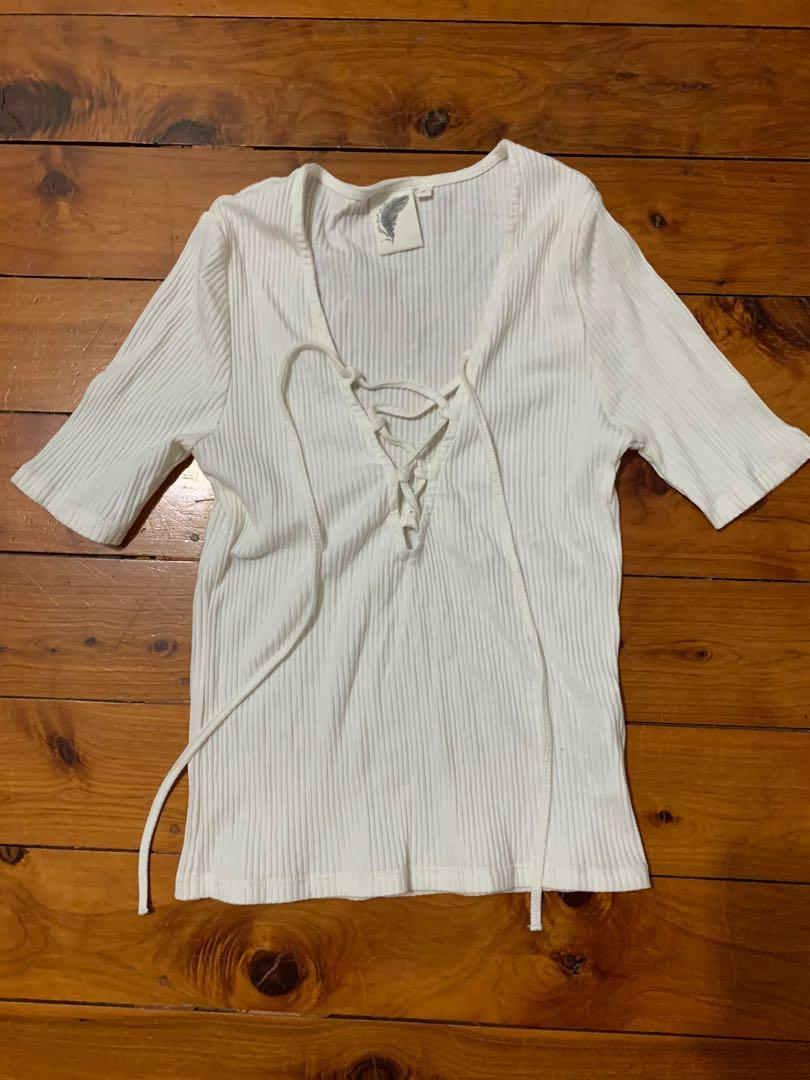 Don't Ask Amanda Size S / 8 White Lace Up Ribbed Top