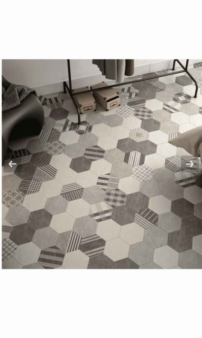 Equipe: Hexatile Cement Black 17.5cm x 20cm Wall & Floor Tiles