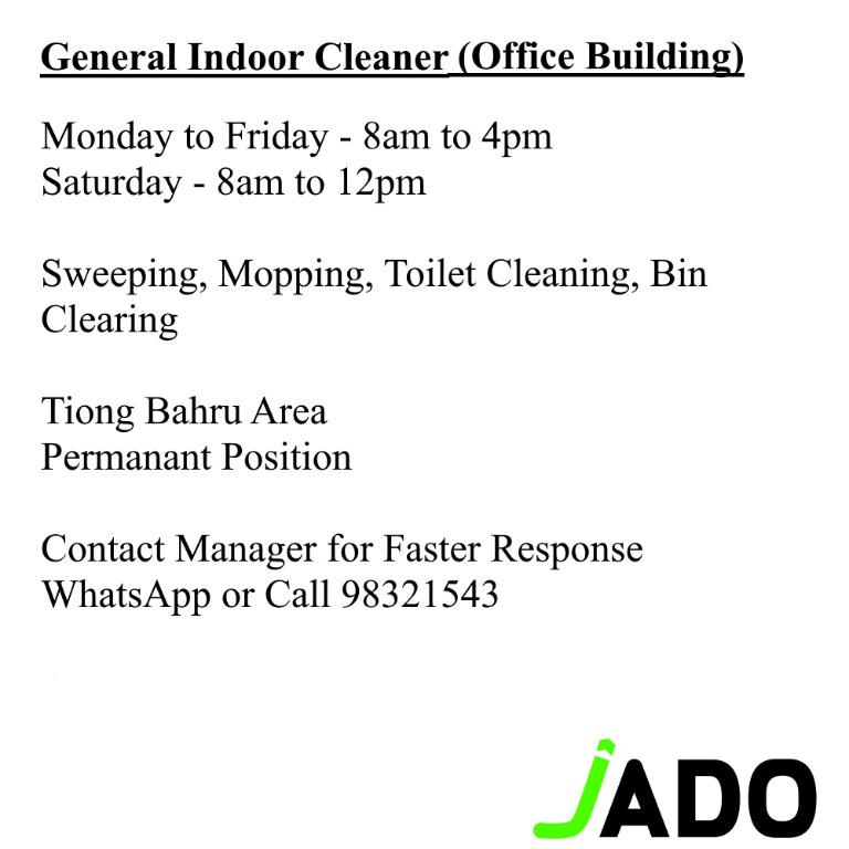 General Cleaner (Multiple Location, Full and Part Time)