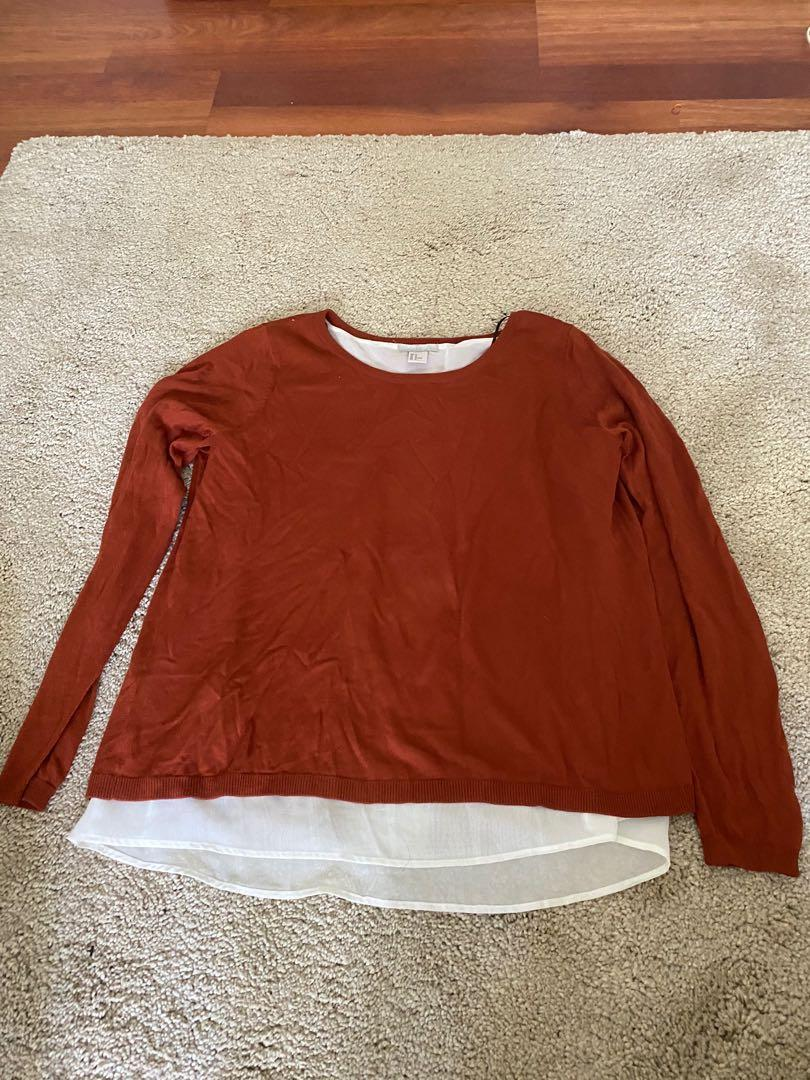 Maroon long sleeve top with sheer white under coat