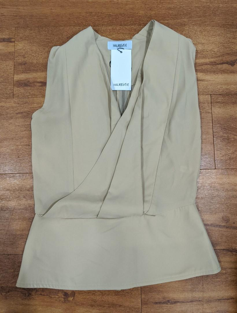 Maurie & Eve soft mocha fold front top. Size 6 - new with tags