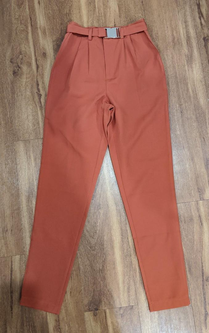 Missguided tomato red pants with gold detail buckle. Size 4 - new