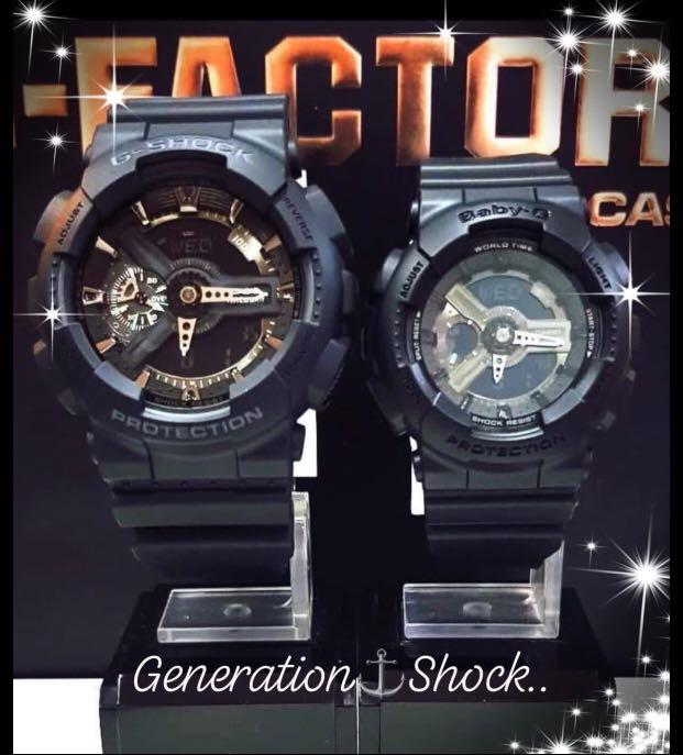NEW🌟COUPLE💝 SET : BABYG🌟GSHOCK UNISEX DIVER SPORTS WATCH : 100% ORIGINAL AUTHENTIC CASIO BABY-G-SHOCK : GA-110-1B + BA-110BC-1A / BA-110-BC-1A (FULLY-BLACKED)