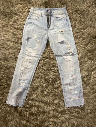 Fashion nova ripped jeans light wash