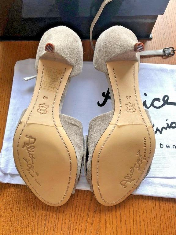 Alice and Olivia Bow Heels Pumps Shoes Size 10 New With Box - Beige Soft Suede