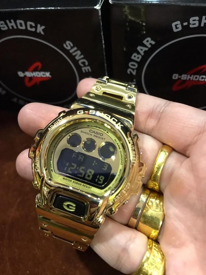 Authentic Casio G-Shock DW-6900 in Full stainless steel Gold metal bezel and bracelet , DW6900 , CASIO.