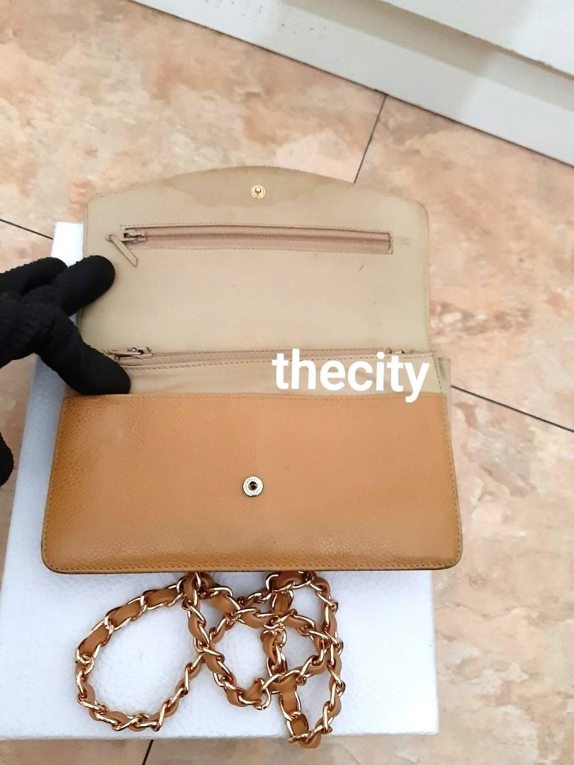 AUTHENTIC CHANEL XL ORGANIZER POUCH / WALLET - CAVIAR LEATHER- BIG CC LOGO DESIGN- GOLD HARDWARE-  HOLOGRAM STICKER INTACT - CLASSIC TIMELESS VINTAGE, SO NOT FOR FUSSY BUYERS- COMES WITH EXTRA ADD HOOKS & LONG CHAIN STRAP FOR CROSSBODY SLING