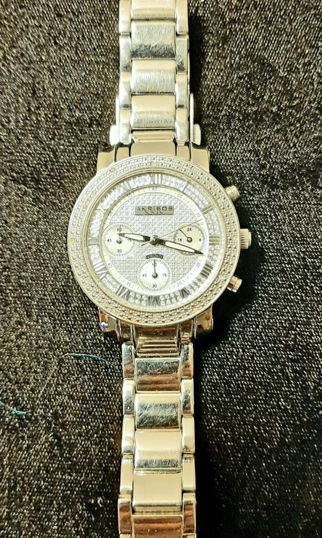 Authentic Diamond And Mother Of Pearl Akribos Watch!