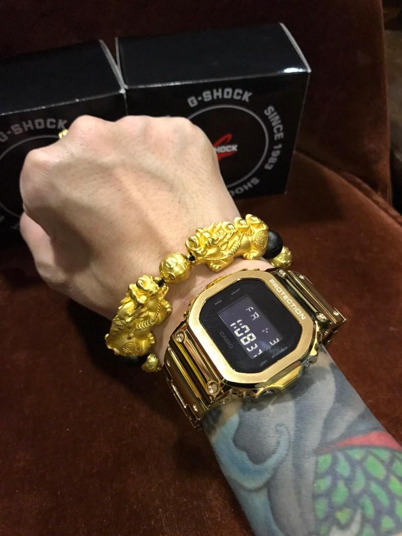 🔥🔥🔥Authentic G-Shock DW-5600BB with customised stainless steel gold metal bezel and bracelet , metal G-Shock