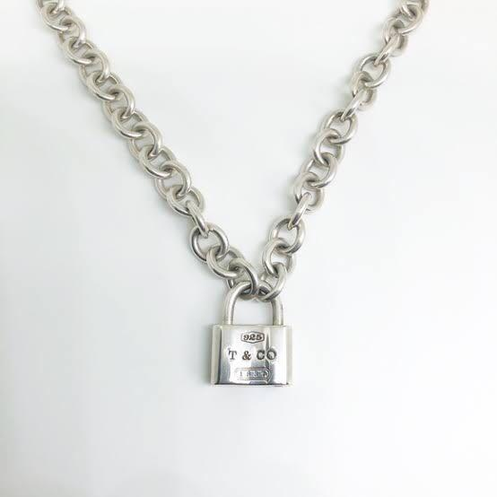 Authentic Tiffany & Co 925 Sterling Silver 1837 padlock necklace