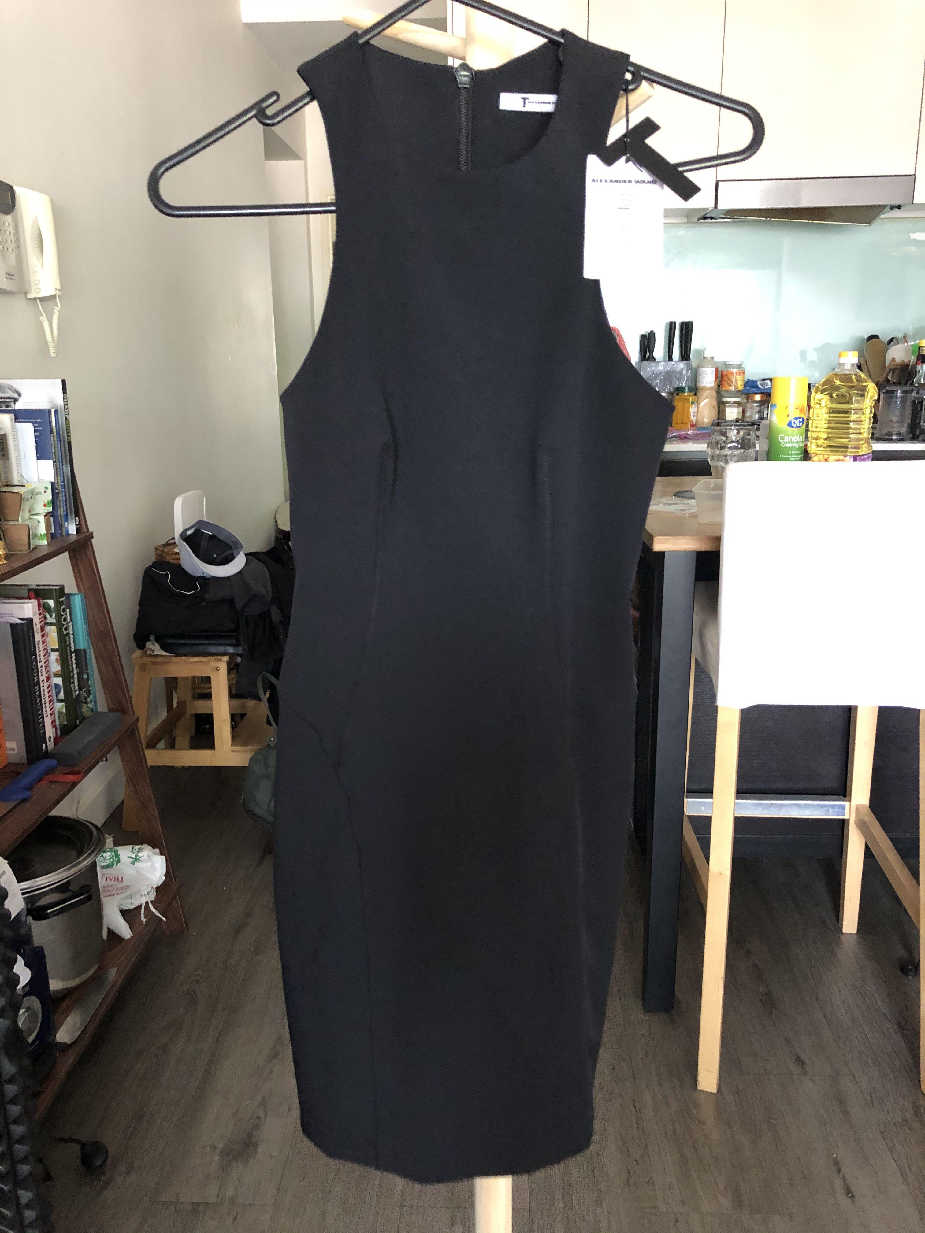 BNWT T BY ALEXANDER WANG BLACK TECH STRETCH DRESS SZ 6