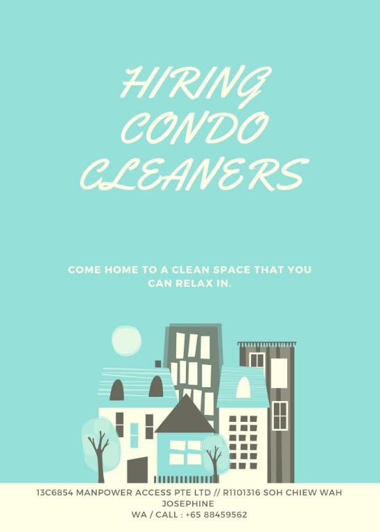 Cleaners @ Island wide condominiums locations