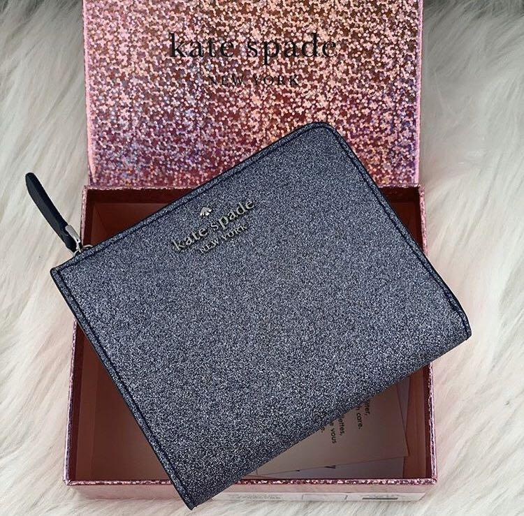 Kate Spade Joeley Glitter Small L Zip Bifold Wallet with Gift Box in Dusknavy