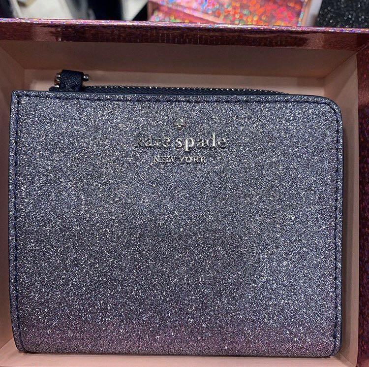 Kate Spade Joeley Glitter Small L Zip Bifold Wallet with Gift Box in Dusknavy