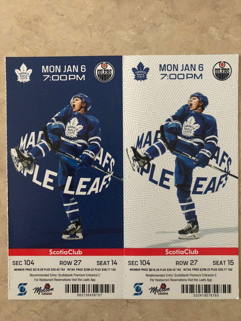Maple Leaf vs Oilers (Connor McDavid)  Tickets- Jan 6th