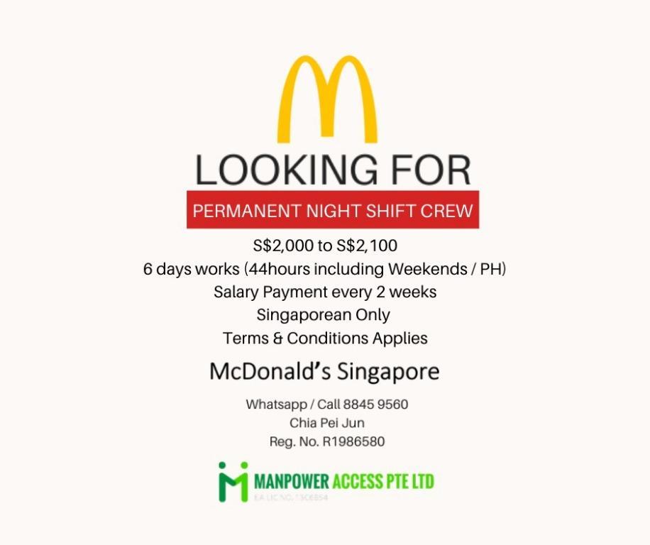 McDonald's Singapore Permanent Night Crew