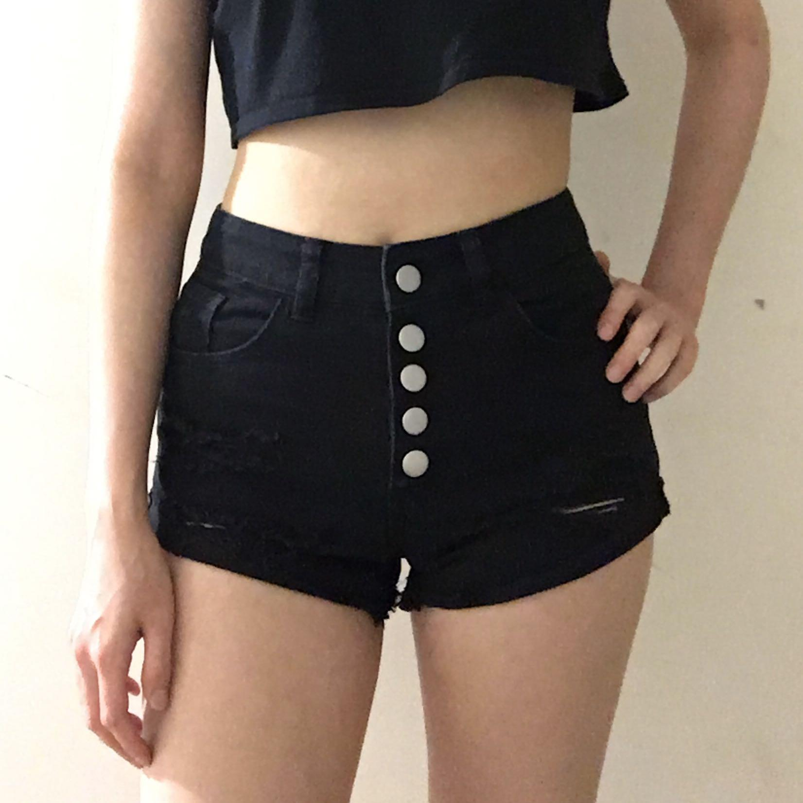 Miss Shop size 4-6 black button up distressed ripped high waisted denim shorts