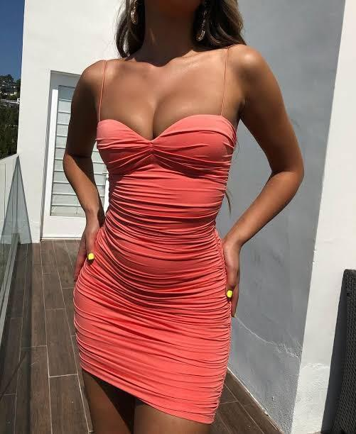 BRAND NEW WITH TAGS OH POLLY SWEET THING RUCHED BODYCON STRAPPY MINI DRESS IN CORAL