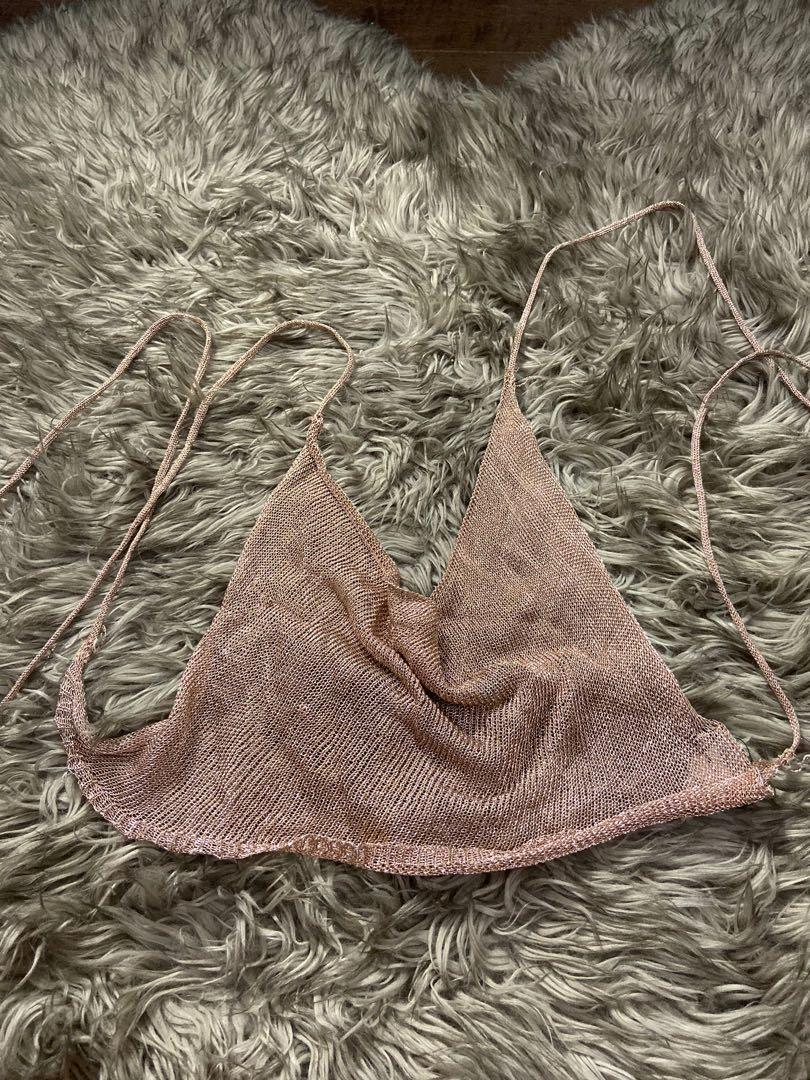 Pretty little things sexy metallic rose gold crop top tie up