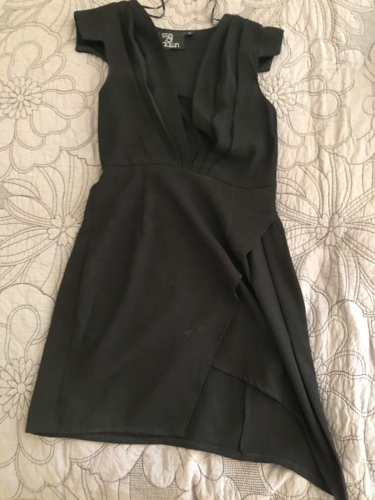 Rise of Dawn black plunge mini dress with jaggered bottom size 8