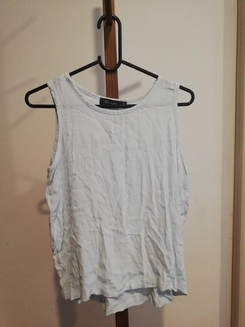 S/8 - Glassons - White/Cream Wide Shouldered Singlet/Sleeveless Top
