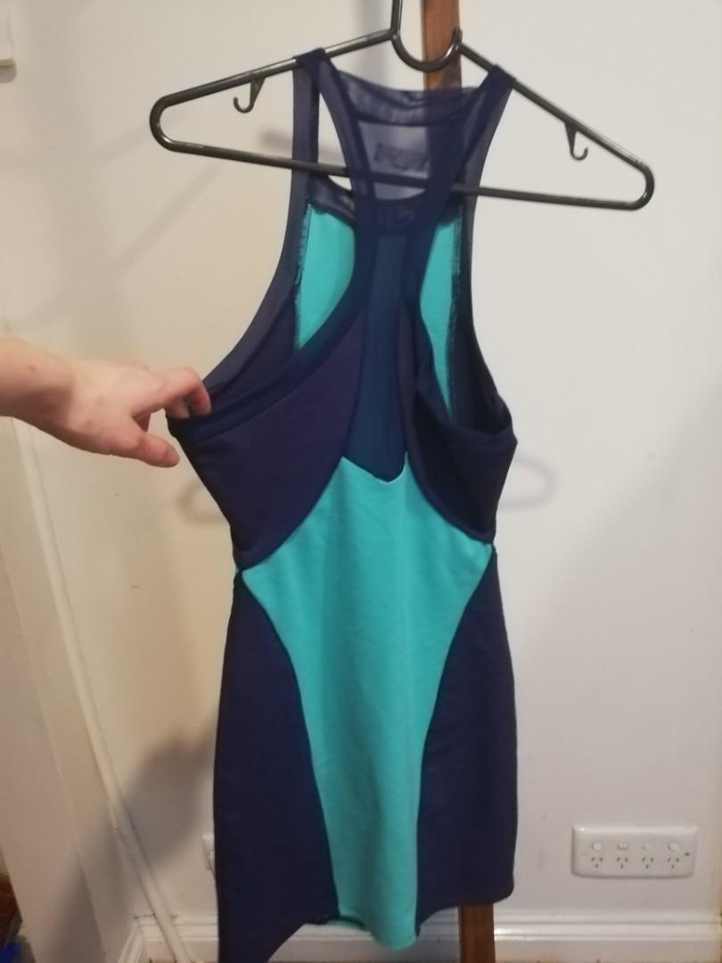 S - Silence & Noise - Tight Multi Blue Dress Long Spaghetti Strapped
