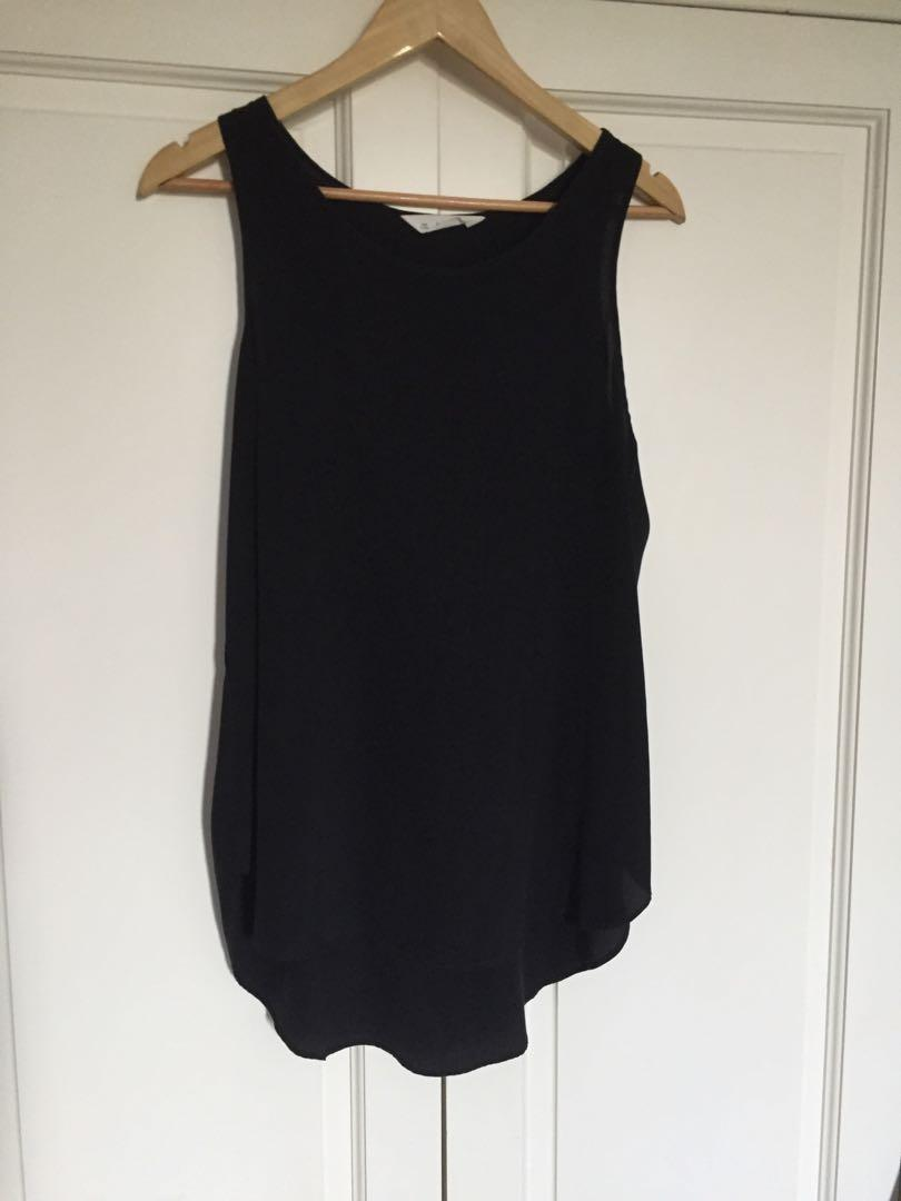SEED heritage black silk singlet, size 12 (can fit 8-10au)