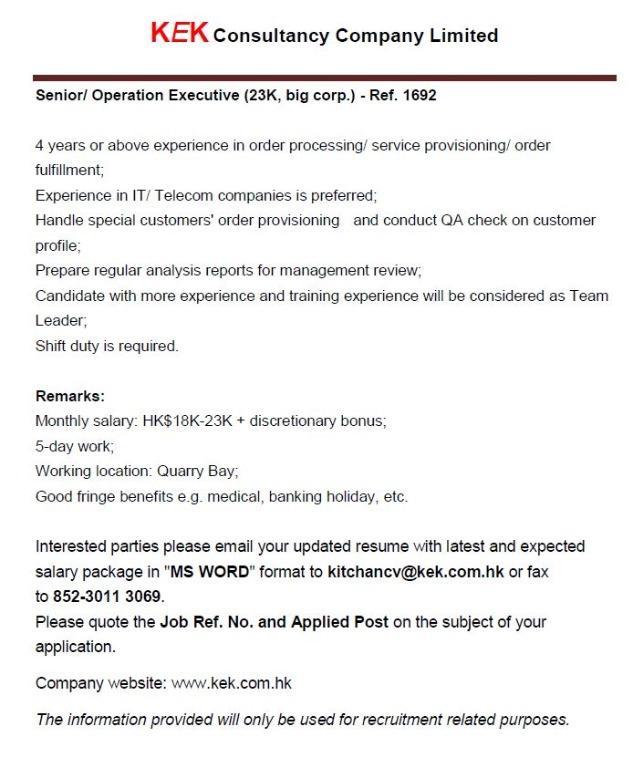 Senior/ Operation Executive (23K, big corp.) - Ref. 1692
