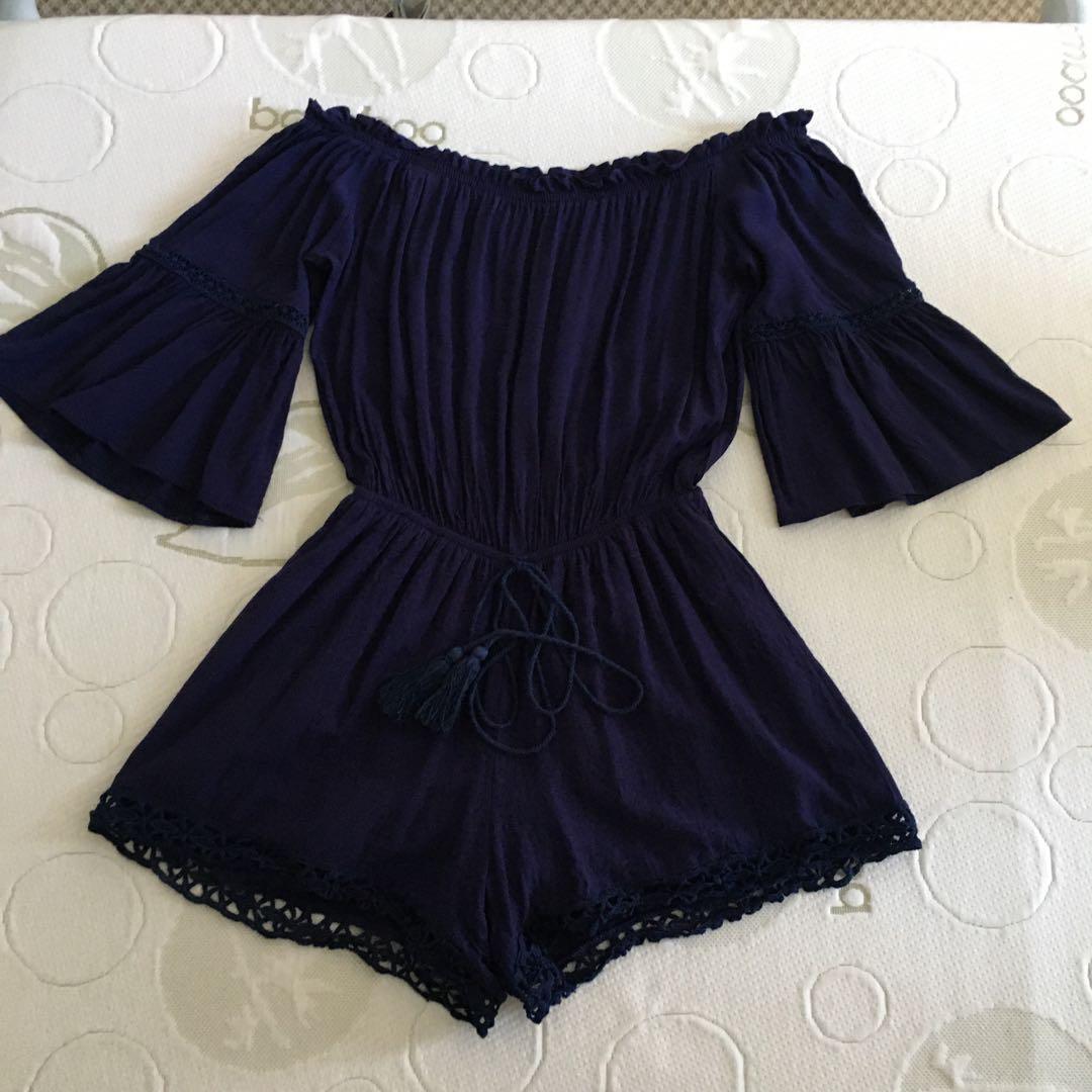 Size 8-10 navy blue bell sleeve off shoulder lace crochet playsuit