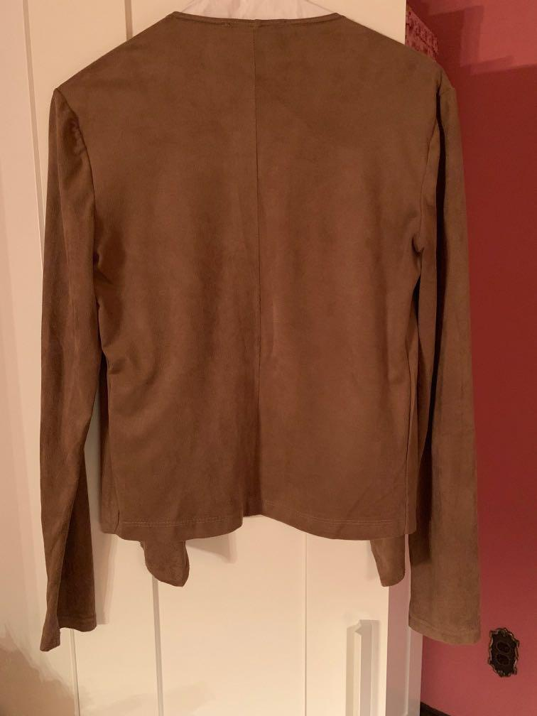 Waterfall style blazer/cardigan, Camel, small, faux suede