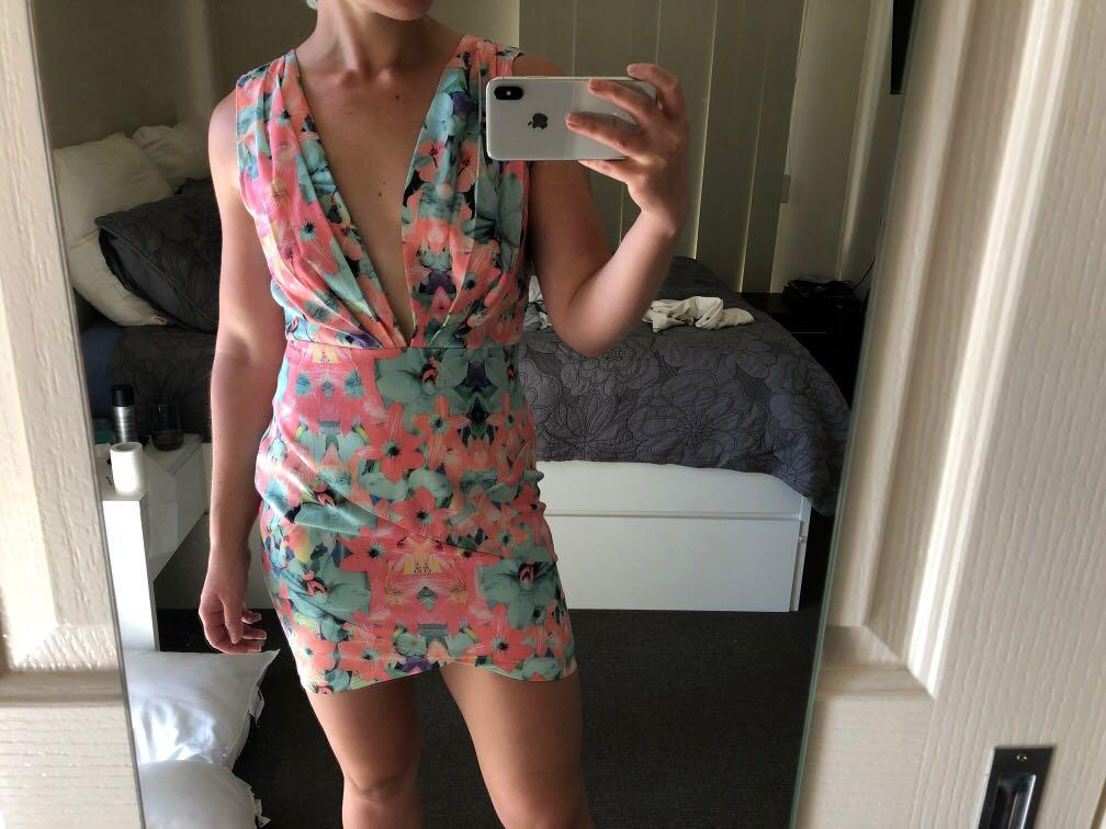 Who I Am pink and green mini dress with plunging neckline size 12