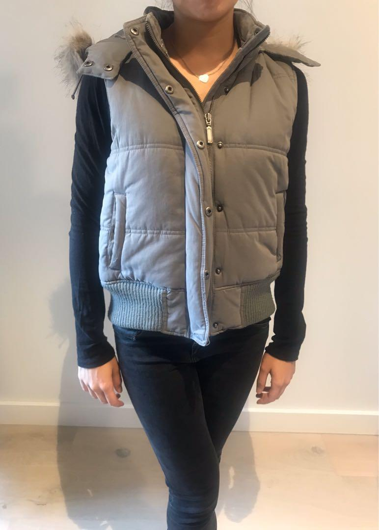 Witchery grey vest with detatchable hood Size Small