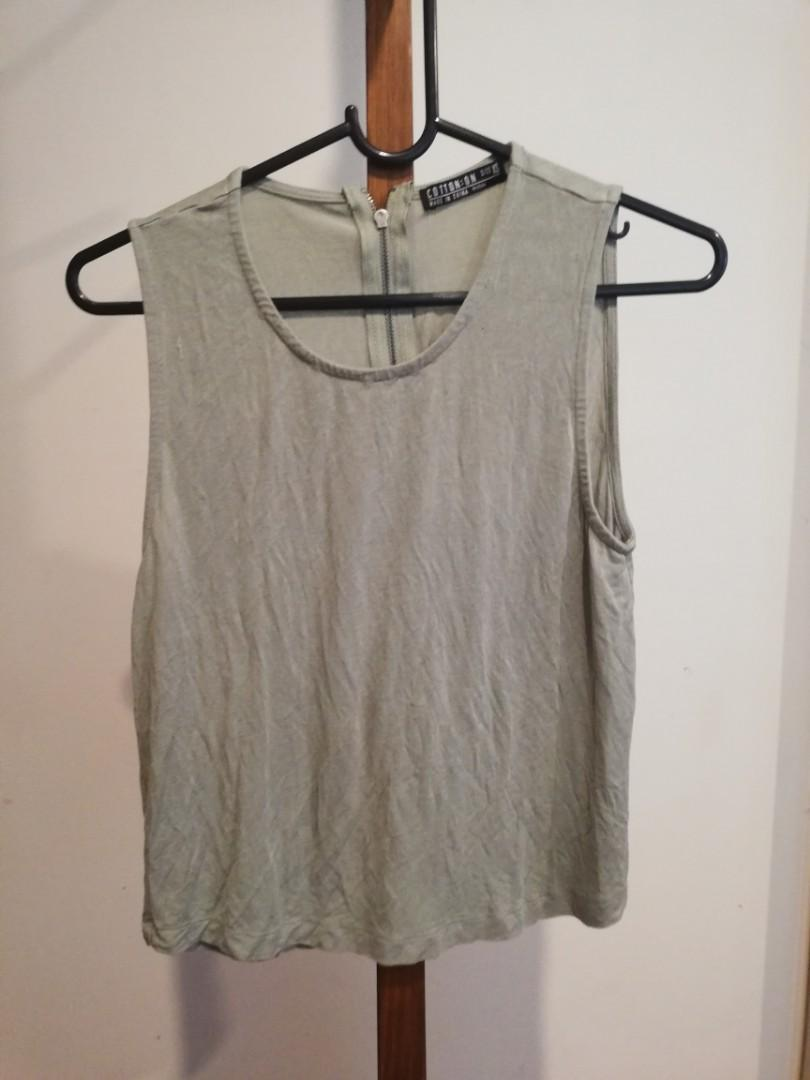 XS - Cotton On - Light Green Singlet Wide Shouldered Top