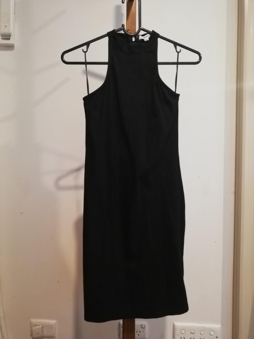 XS - Glamorous - Tight Fit Subtle Detail Long Black Dress