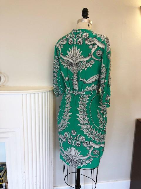 Yoanna Baraschi Gilded Estate Jade Green Silk Shirt Dress Size 6 Small Pre-Owned