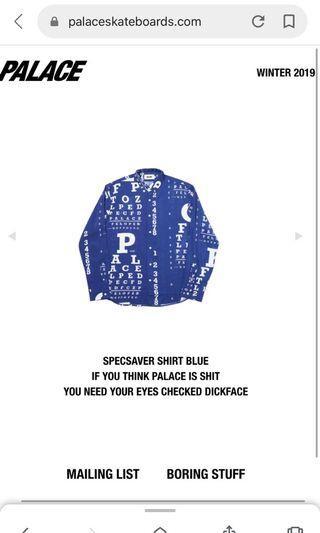出清 Palace 19 F/W specsaver shirt 襯衫 supreme