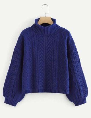 SHEIN blue cable knit sweater